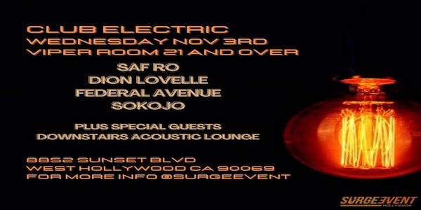 Surge Event Proudly Presents Club Electric